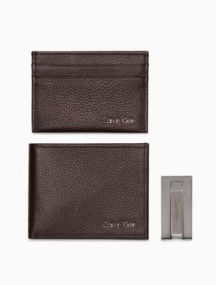Calvin Klein pebble leather gift box set