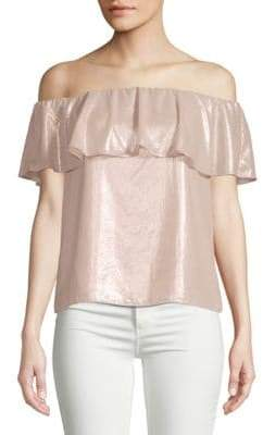 Metallic Off-The-Shoulder Blouse