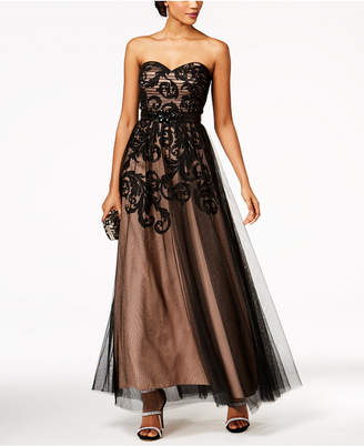 Betsy & Adam Printed Mesh Strapless Gown