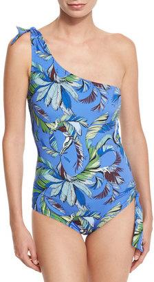 Emilio Pucci Jungle-Print One-Shoulder Swimsuit $415 thestylecure.com