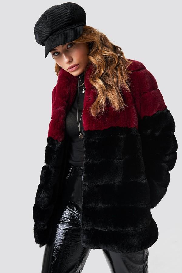 Linn Ahlborg X Long Puff Faux Fur Jacket Black/Burgundy