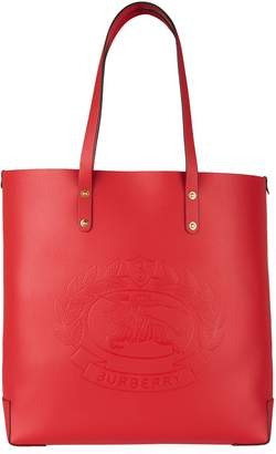 Burberry Large Leather Embossed Crest Tote Bag