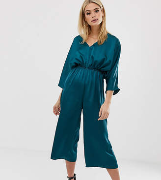 Missguided Tall culotte satin ruched waist jumpsuit in teal