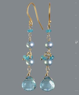 Nancy Cohen blue topaz briolette linear earrings