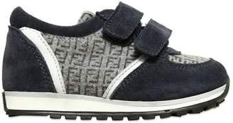 Fendi Logo Printed Felt Wool & Suede Sneakers