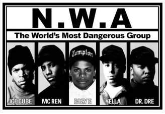 Buyartforless N.W.A. Lineup 36x24 Music Art Print Poster - Ice Cube - MC Ren - Eazy E - Yella - Dr Dre