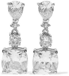 Kenneth Jay Lane Cz By Silver-Tone Crystal Earrings