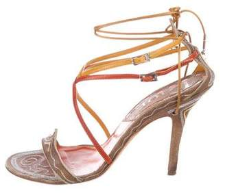 Christian Dior Suede Embroidered Sandals