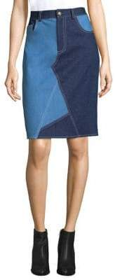 Harvey Faircloth Asymmetric Seam Patchwork Pencil Skirt