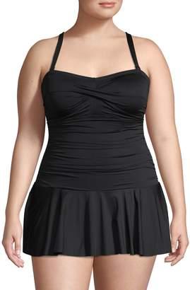 Lauren Ralph Lauren Plus Shirred Skirted One-Piece Swimsuit