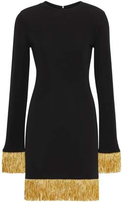 Burberry metallic fringe detail stretch jersey dress