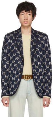 Gucci Blue All Over GG Blazer