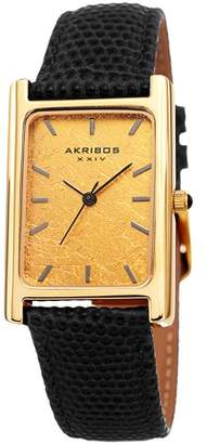 Akribos XXIV Gold Tone Dress Quartz Watch With Leather Strap [AK1045BK]