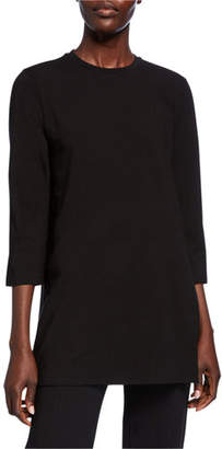 Eileen Fisher Crewneck 3/4-Sleeve Jersey Cotton Tunic
