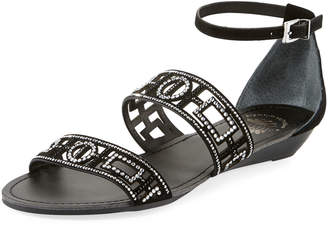 Premium Collection By Yellow Box Violet Embellished Suede Sandal, Black