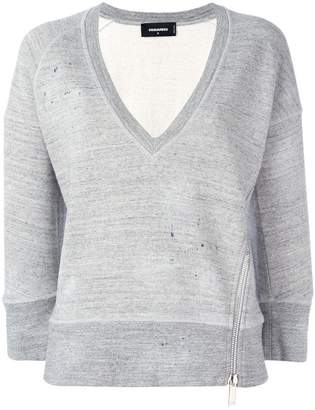 DSQUARED2 cropped marled detail sweatshirt