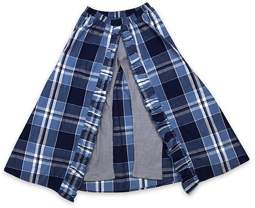 Sky Blue Plaid Walk-Through Maxi Skirt - Girls