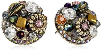 "Betsey Johnson Woven Clusters"" Woven Cluster Round Stud Earrings"