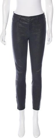 J Brand J Brand Leather Skinny-Leg Pants