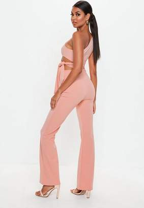 Missguided Peach Cut Out Side Tie Romper
