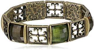 1928 Jewelry Gothic Cross Brass Tone and Olivine Stretch Bracelet