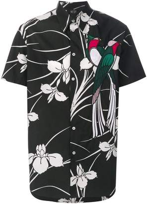 No.21 floral print parrot shirt