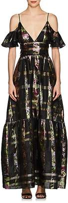 Cynthia Rowley WOMEN'S METALLIC PLAID SILK-BLEND COLD-SHOULDER MAXI DRESS
