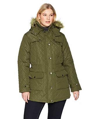 The Plus Project Women's Winter Warm Diamond Down Fur Hood Plus Size Long Quilted Jacket Coat with Pockets