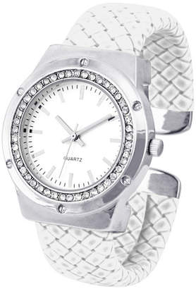 FASHION WATCHES Womens Crystal-Accent White Faux Leather Cuff Bangle Watch