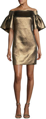 Halston Off-the-Shoulder Metallic Full-Sleeve Cocktail Dress