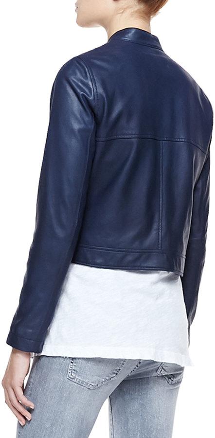 Current/Elliott Leather Front-Zip Moto Jacket