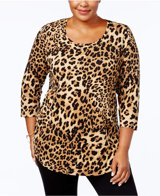 JM Collection Plus Size Printed Top
