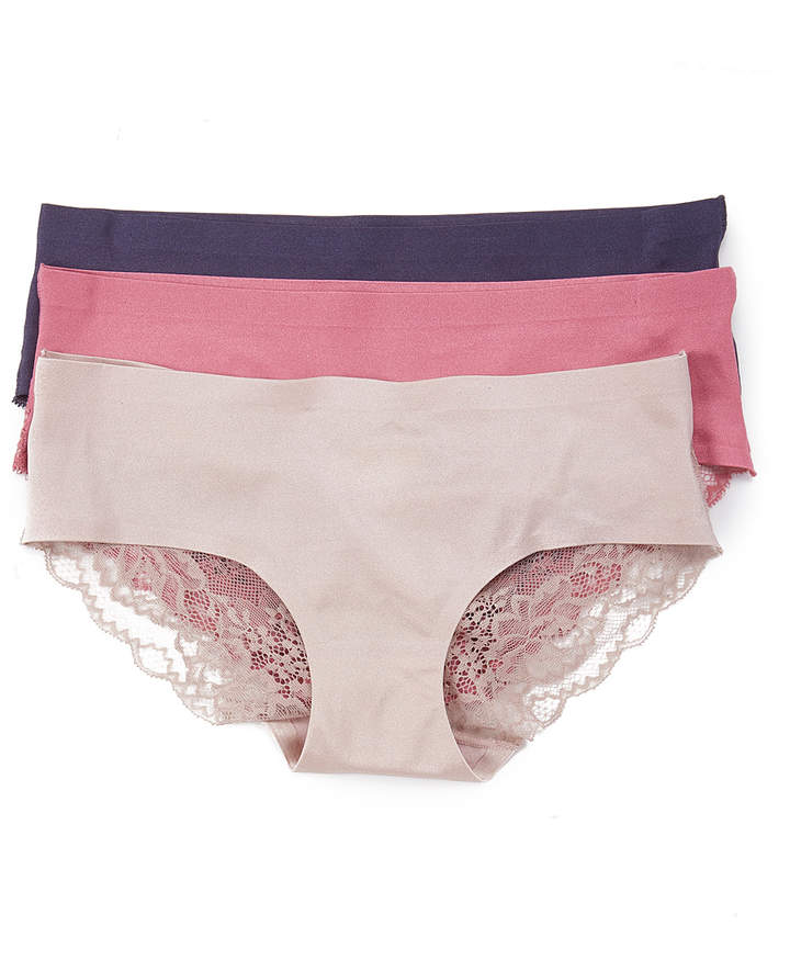 Light Pink & Pink Lace-Back Bikini Briefs Set - Women