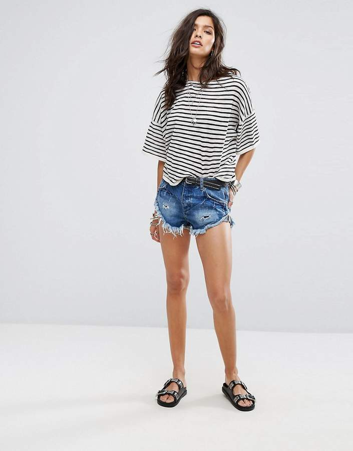 – Bandits – Denim-Shorts mit gerolltem Saum im Used-Look