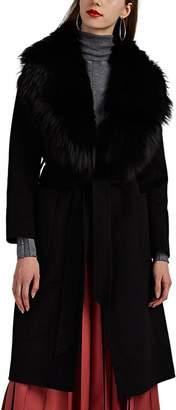 Barneys New York Women's Fur-Trimmed Wool Belted Coat