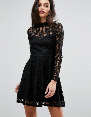 Lipsy Lace Burn Out High Neck Dress $76 thestylecure.com