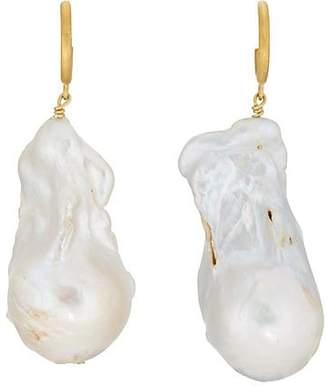 ANNI LU Women's Baroque Pearl Hoop Earrings - Gold