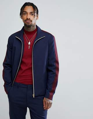 Asos DESIGN Slim Smart Track Jacket In Navy With Wine Stripe
