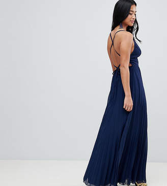Asos DESIGN Petite cami pleated maxi dress with strappy back