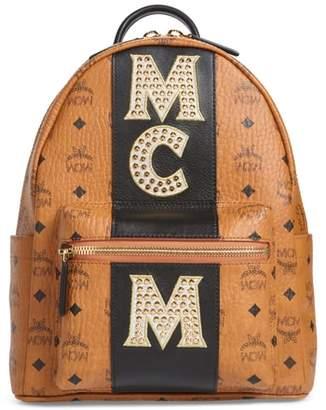 MCM Stark Stripe Studs Coated Canvas Backpack