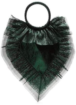 The Vampire's Wife - Ruffle Trimmed Woven Clutch - Womens - Green