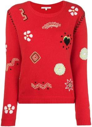Parker Chinti & contrast stitch embroidered sweater