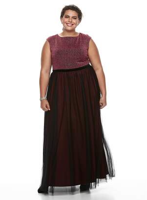 Suite 7 Plus Size Chaya Lurex Fit & Flare Evening Gown