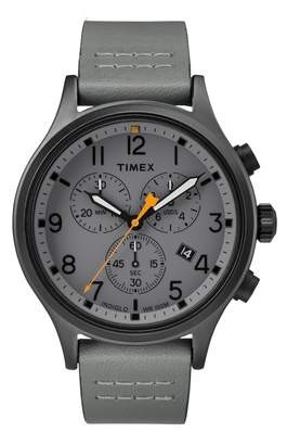 Timex R) Allied Chronograph Leather Strap Watch, 42mm