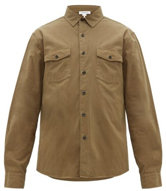 Frame Double Flap Pocket Cotton Long Sleeve Shirt - Mens - Khaki