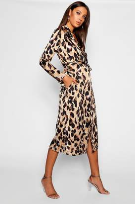 boohoo Tall Leopard Print Satin Trench Coat