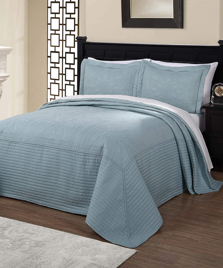 Dusty Blue French Tile Quilt Set