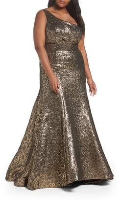Mac Duggal One-Shoulder Metallic Ballgown
