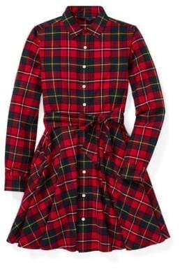 Ralph Lauren Childrenswear Girls Plaid Cotton Shirtdress