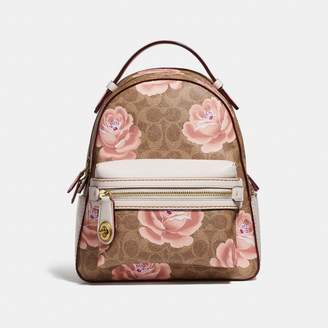 Coach Campus Backpack 23 In Signature Rose Print
